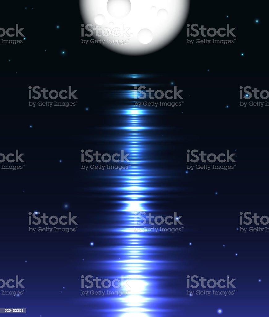 Ilustración de Reflejo De La Luna Sobre El Agua Ilustración ...