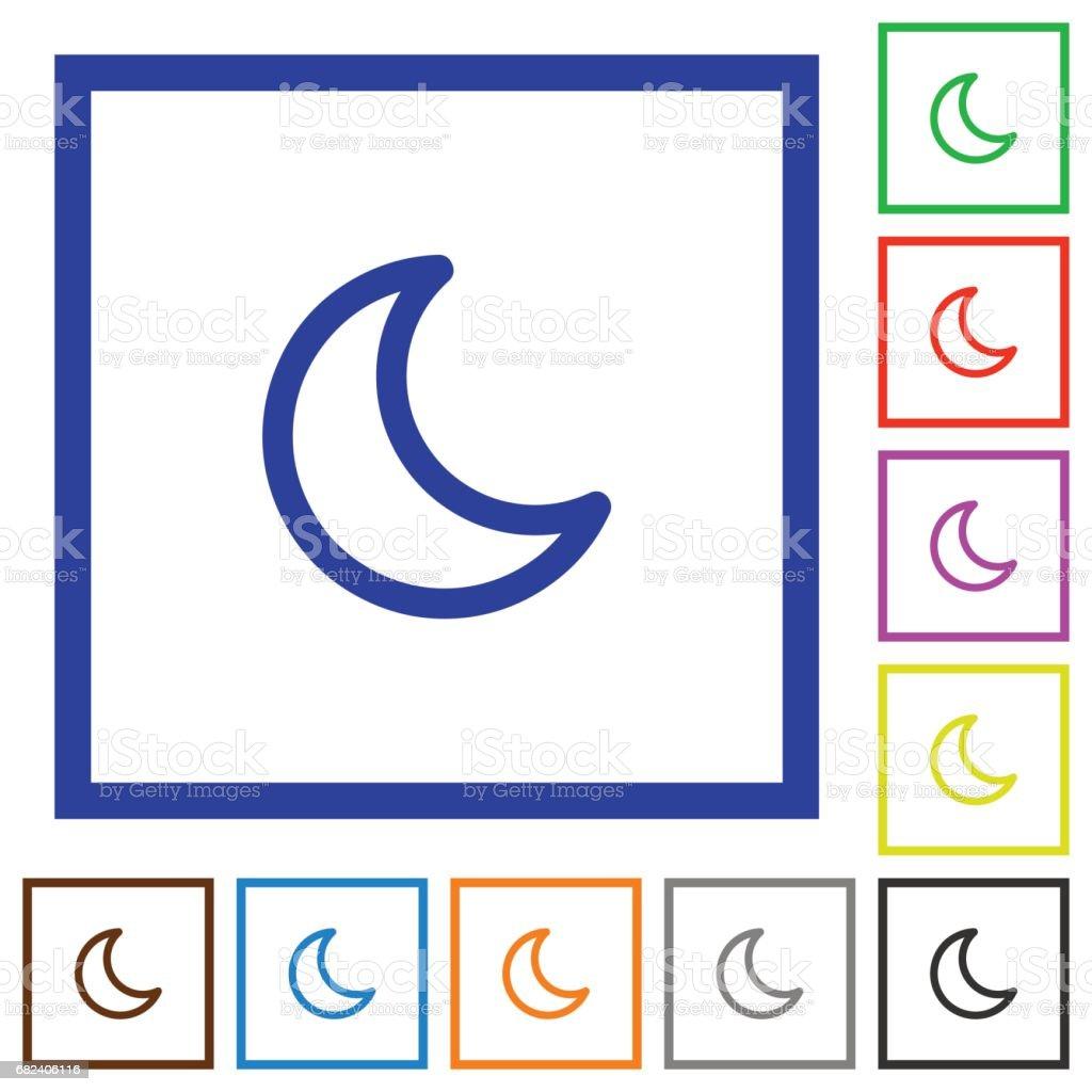 Moon shape flat framed icons royalty-free moon shape flat framed icons stock vector art & more images of alertness