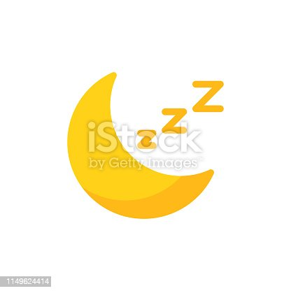 Moon, Sleep Flat Icon.