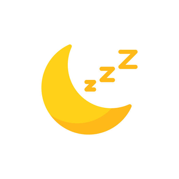 Moon, Sleep Flat Icon. Pixel Perfect. For Mobile and Web. Moon, Sleep Flat Icon. sleeping stock illustrations