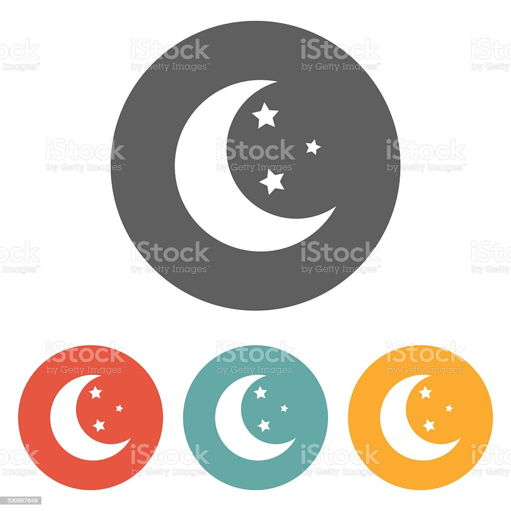 moon star icon vector art illustration