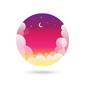 Moon, Stars and Clouds on the dark night sky background stock illustration
