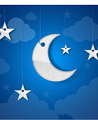Moon Stars And Clouds