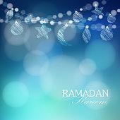 Moon, stars, bokeh lights, vector illustration background, card, invitation for muslim community holy month Ramadan Kareem