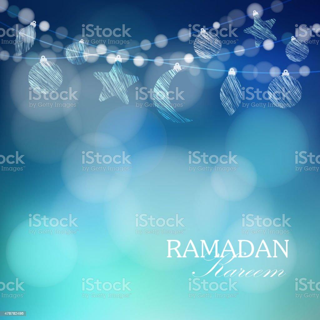 Moon, stars, bokeh lights, Ramadan vector background vector art illustration
