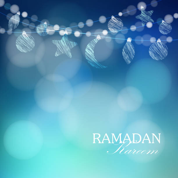 Moon, stars, bokeh lights, Ramadan vector background vector art illustration