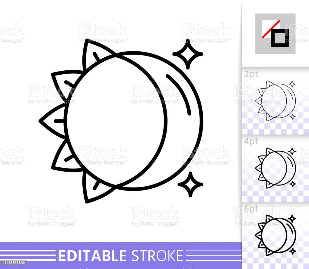 Moon Sun Day Night Simple Thin Line Vector Icon Stock Illustration