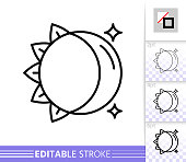 Moon Sun day night simple thin line vector icon