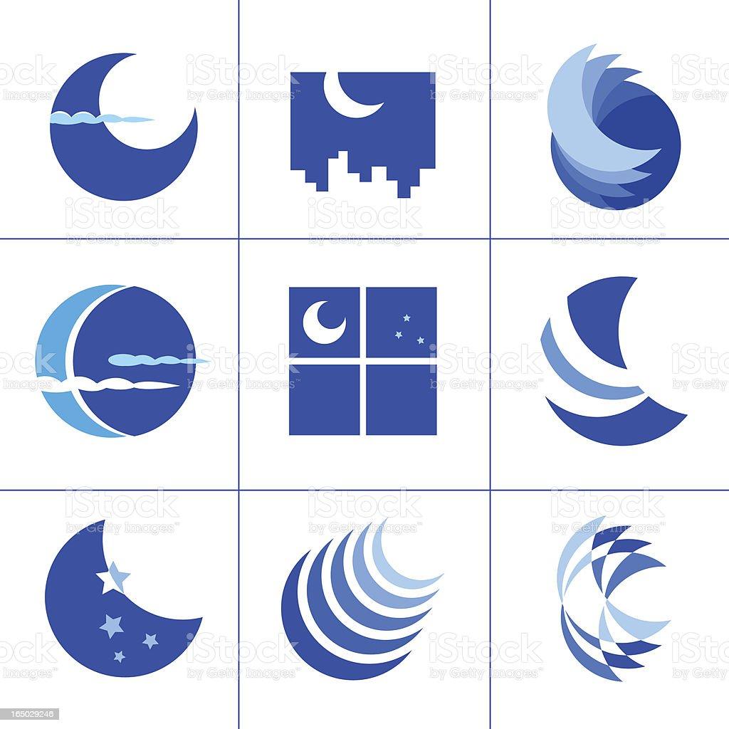 Moon symbols - vector vector art illustration