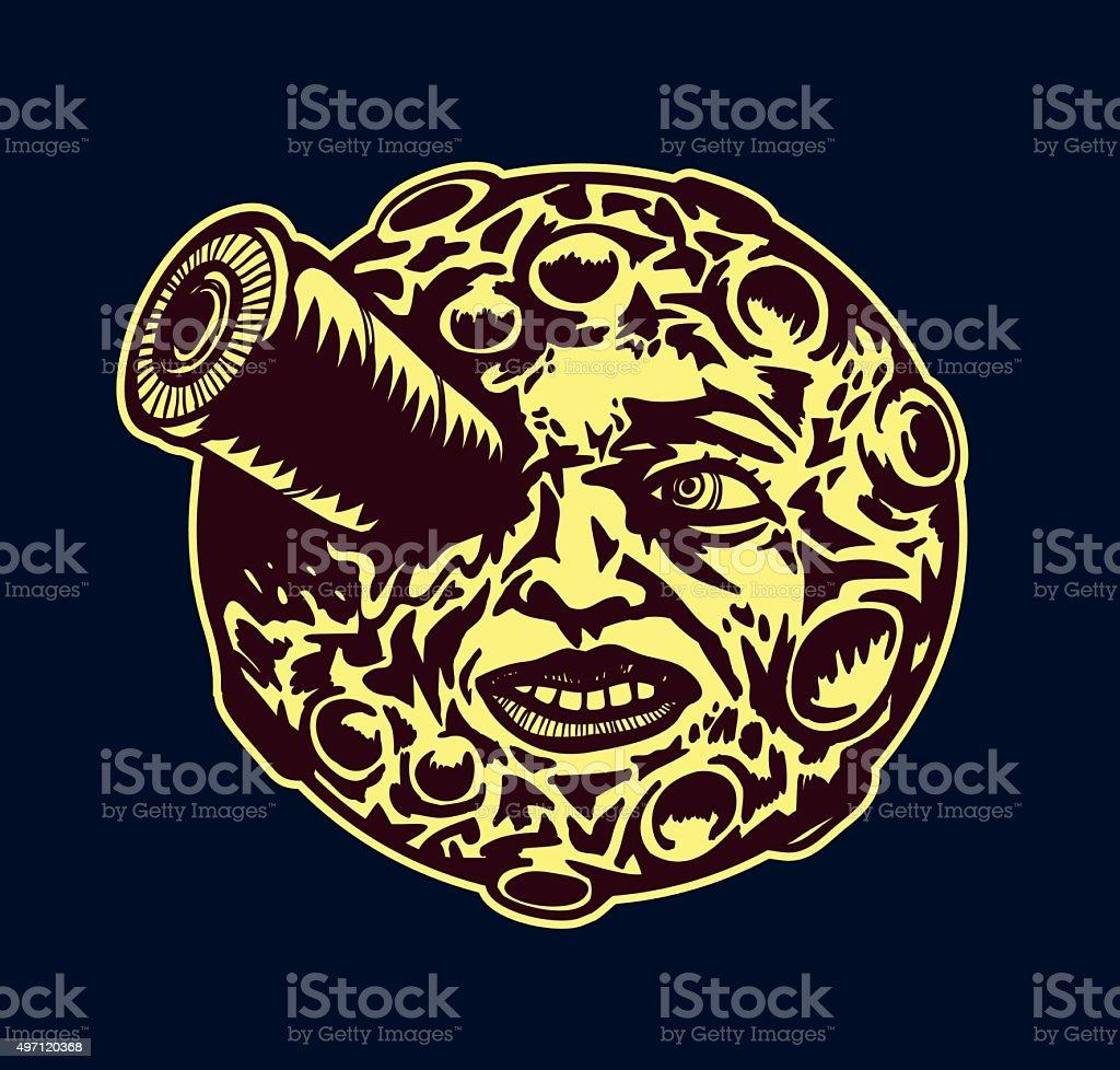 Moon trip cartoon moon face space rocket in the eye stock vector moon trip cartoon moon face space rocket in the eye royalty free moon trip biocorpaavc Choice Image