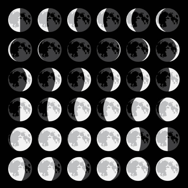 Moon Moon phases in vector moon surface stock illustrations
