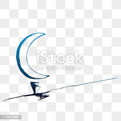 istock Moon vector with hand drawn blue gradient color. 1138105601