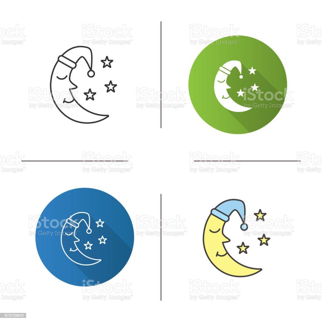 La lune au visage en icône de bonnet de nuit - Illustration vectorielle
