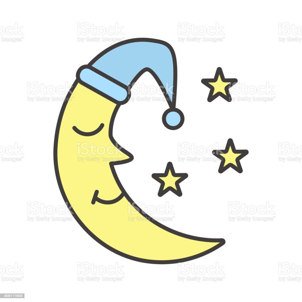 La lune avec l'icône de bonnet de nuit et les étoiles - Illustration vectorielle