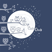 Night with Owls on branches