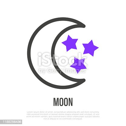 istock Moon with stars thin line icon. Symbol of bedtime, sleep. Vector illustration. 1155256436