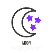 istock Moon with stars thin line icon. Symbol of bedtime, sleep. Vector illustration. 1155256436