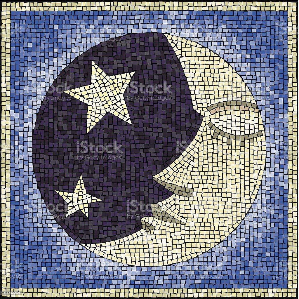 Moon-face mosaic vector art illustration