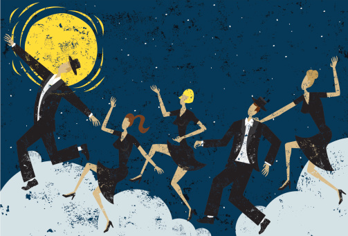 People dancing on clouds over an moonlit abstract background. The background extends outside the square clipping mask. To edit, select the background and go to OBJECT-> CLIPPING MASK-> EDIT CONTENTS or RELEASE.