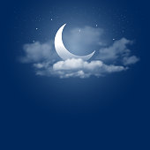 Mystical Night sky background with half moon, clouds and stars. Moonlight night. Vector illustration.