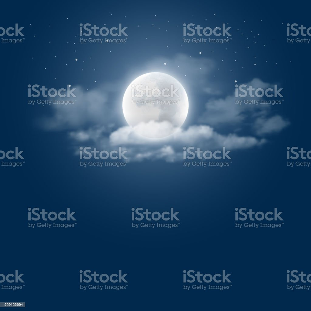 Moonlight night vector art illustration
