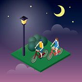 Moonligt night in park. Female and male cyclists riding on a bicycle. Flat 3d isometric vector illustration