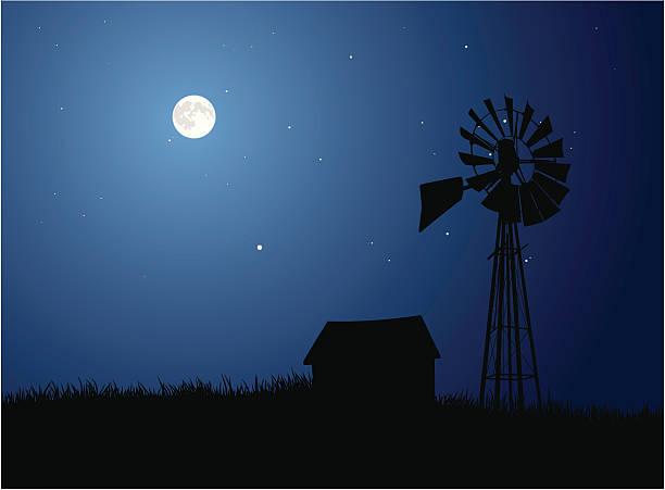 Moonlit Farm vector art illustration