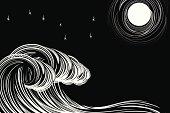 Woodcut style moonlit waves.