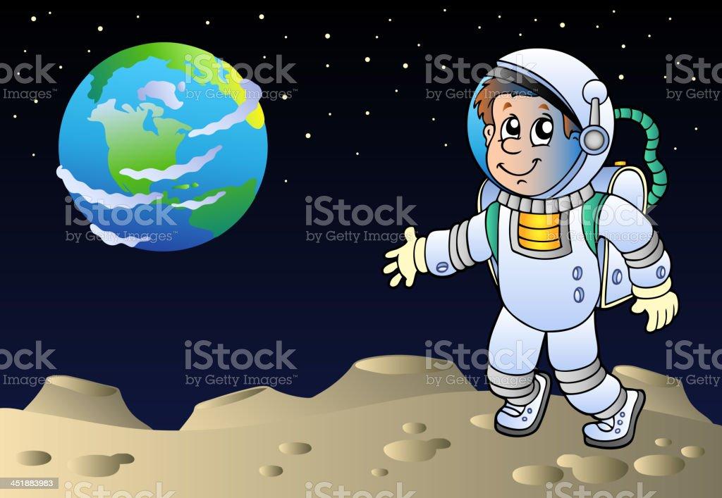 Moonscape with cartoon astronaut royalty-free stock vector art