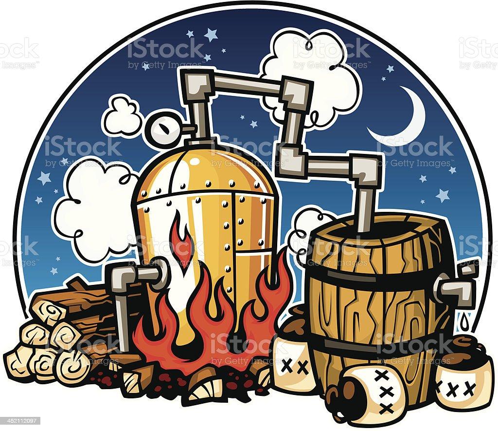 moonshine distillery vector art illustration