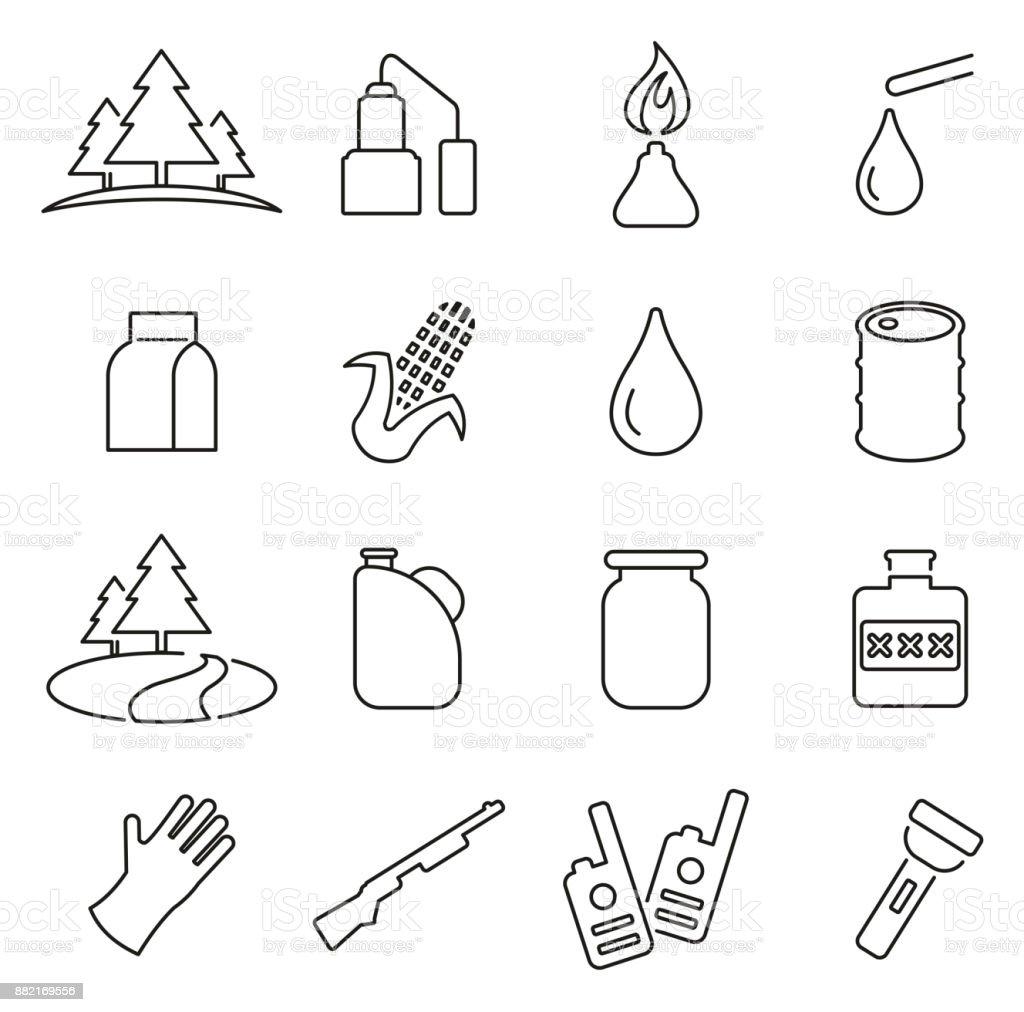 Equipo de Moonshine y cultura iconos delgada línea Vector ilustración conjunto - ilustración de arte vectorial