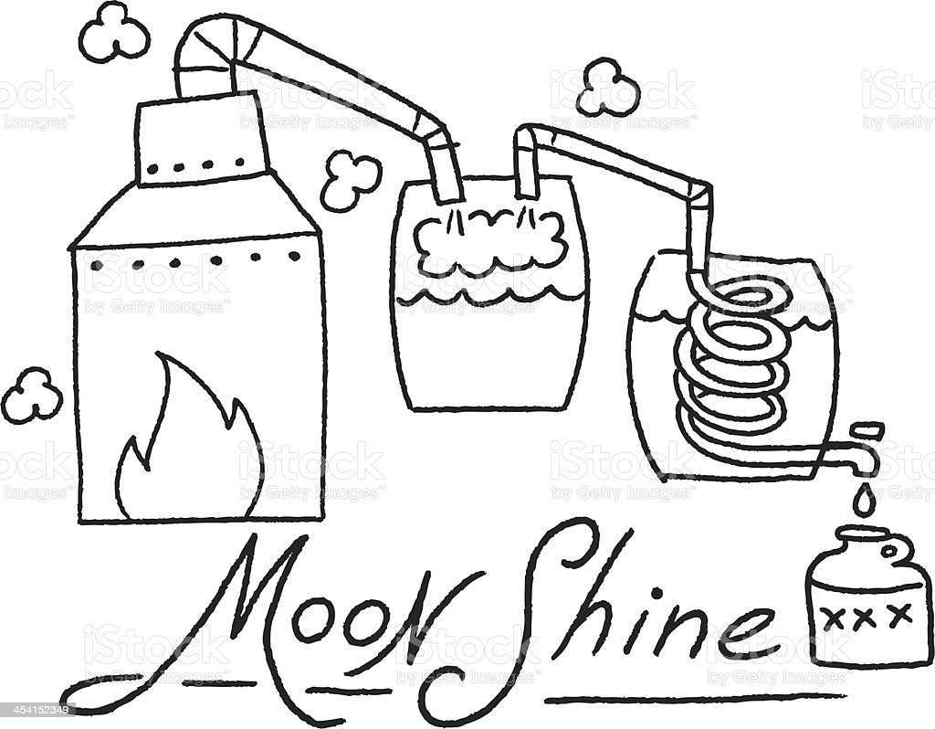 moonshine sketch vector art illustration