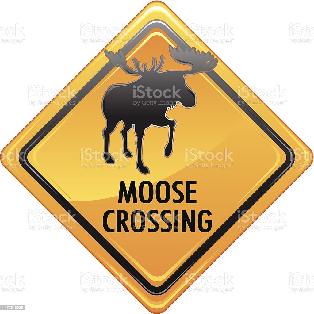 moose crossing sign stock vector art more images of animal
