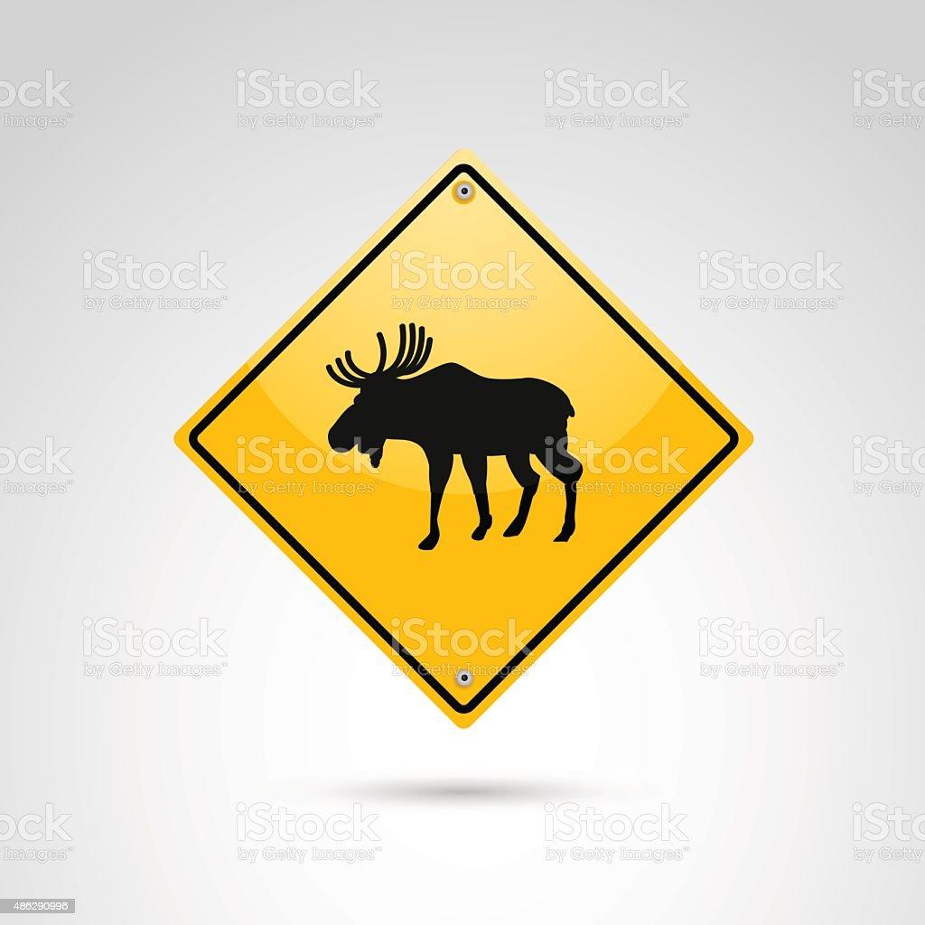 Moose crossing. vector art illustration