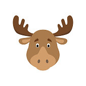 Moose face in cartoon style for children. Animal Faces Vector illustration Series