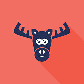 Moose Head Icon Navy and Coral Background