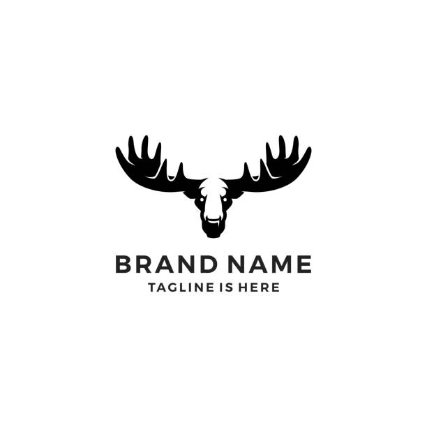 moose head template vector icon illustration moose head template vector icon illustration antler stock illustrations