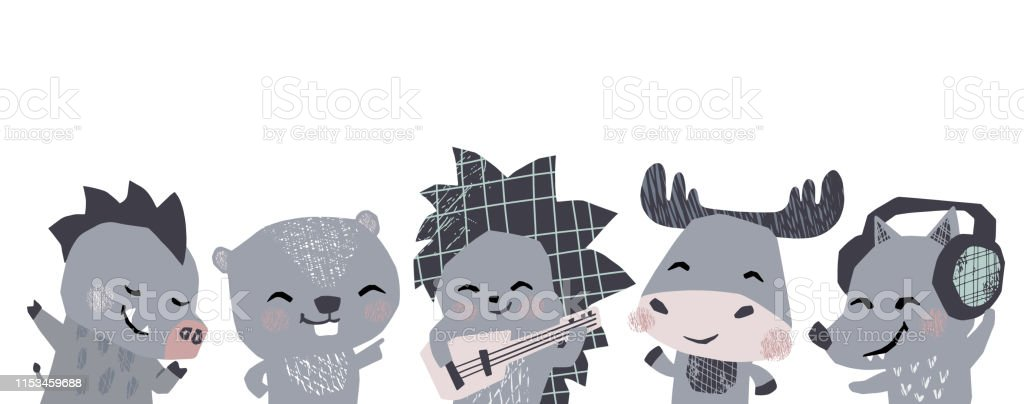 Moose, hedgehog, wolf, boar, beaver musik band cute banner. Animals...
