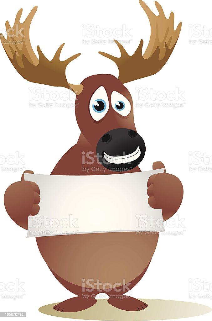Moose holding a small blank banner royalty-free moose holding a small blank banner stock vector art & more images of advertisement