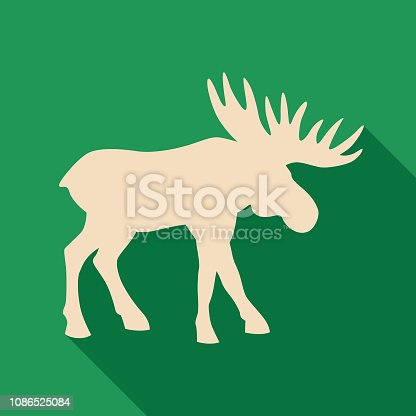 Vector illustration of a tan moose silhouette with shadow on a green background.