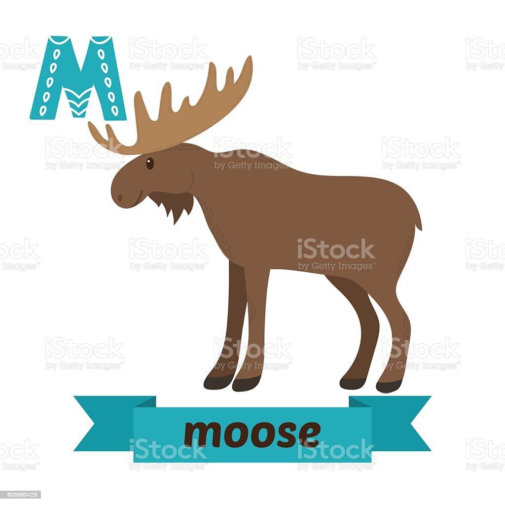 Moose M Letter Cute Children Animal Alphabet In Vector Stock Vector