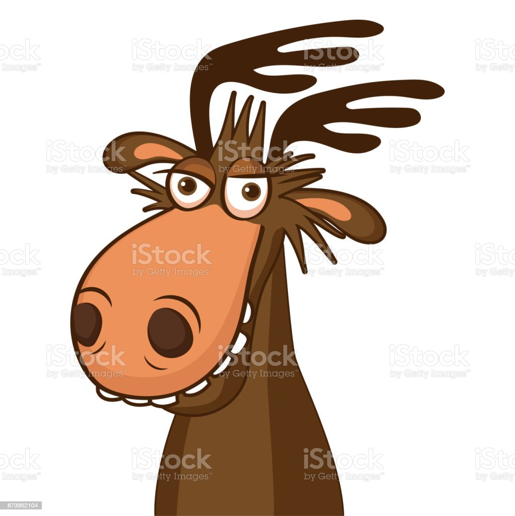 Moose On The Loose. Moose Face Picture. Cartoon Smile Deer Vector.