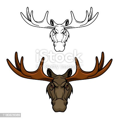 istock Moose or elk head with antlers. Wild animal icon 1180628389