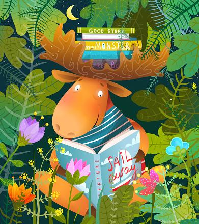 Moose or Elk Reading Story Book in Forest for Kids