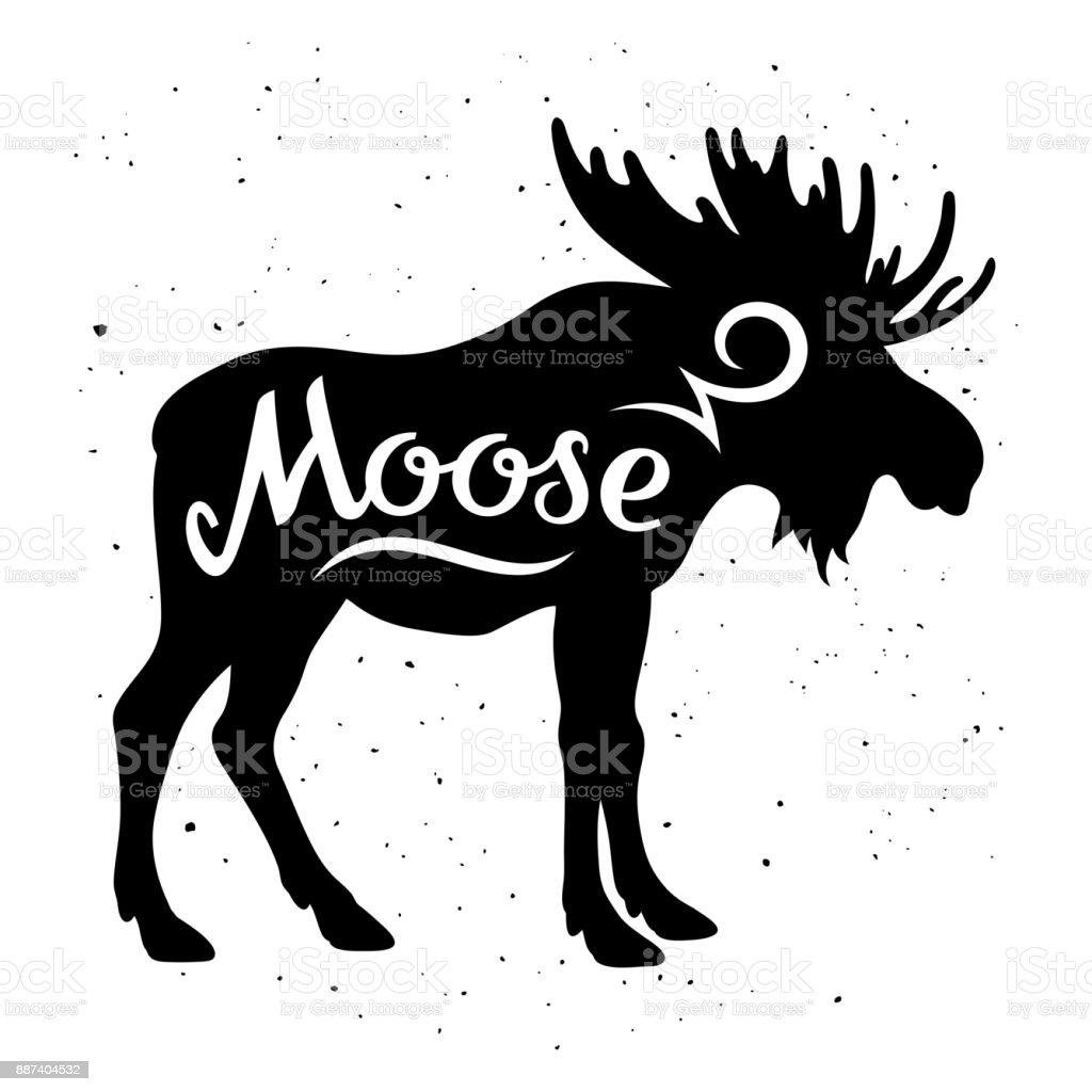 Moose silhouette 002 векторная иллюстрация