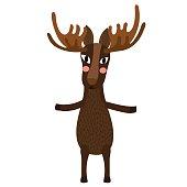 Moose standing on two legs animal cartoon character vector illustration.