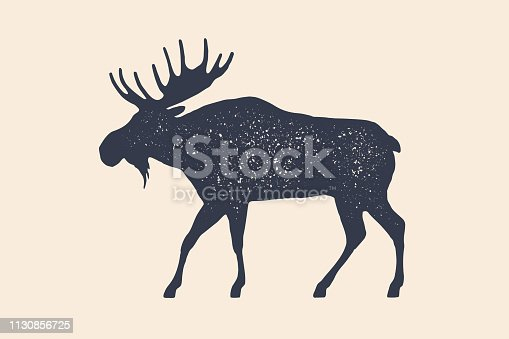 Moose, wild deer. Concept design of farm animals - Moose side view profile. Isolated black silhouette moose or wild deer on white background. Vintage retro print, poster, icon. Vector Illustration