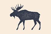Moose, wild deer. Concept design of farm animals