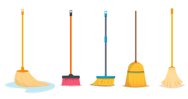 Mop and broom for cleaning vector art illustration