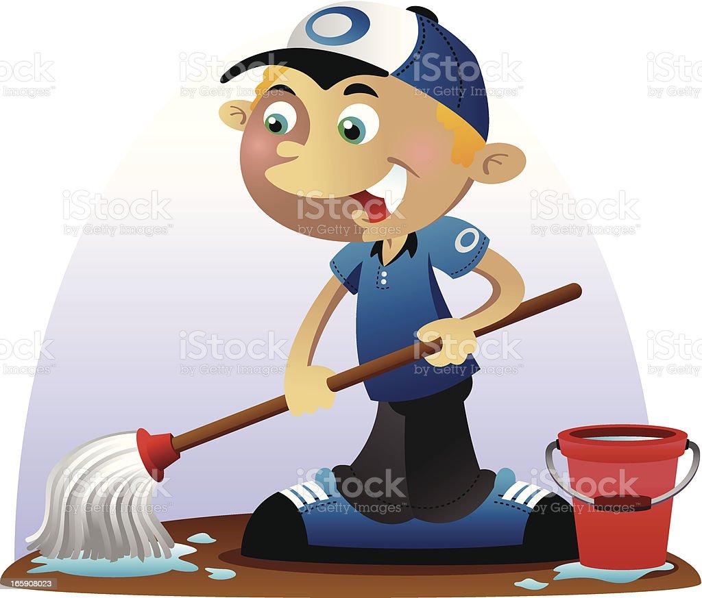 Mop Boy royalty-free mop boy stock vector art & more images of boys